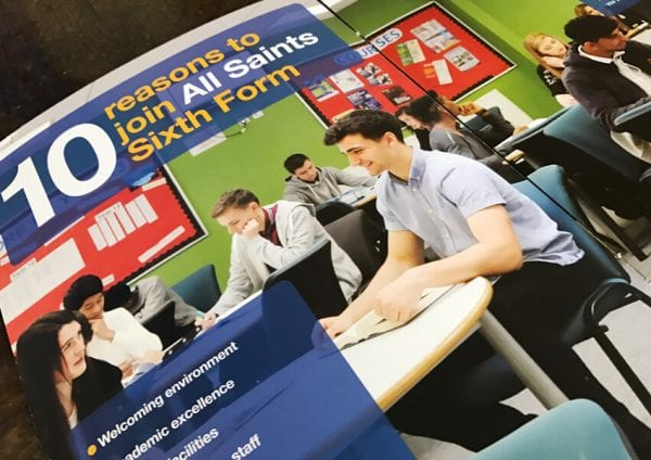 Sixth form prospectus for All Saints, Sheffield