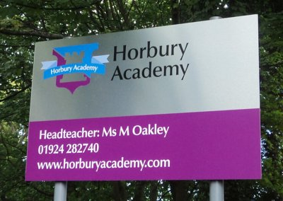 School signs and wall displays at Horbury academy