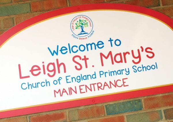 Primary school wall displays and external signs for Leigh St Mary's