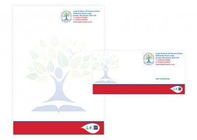 Primary school branding for Leigh St Marys
