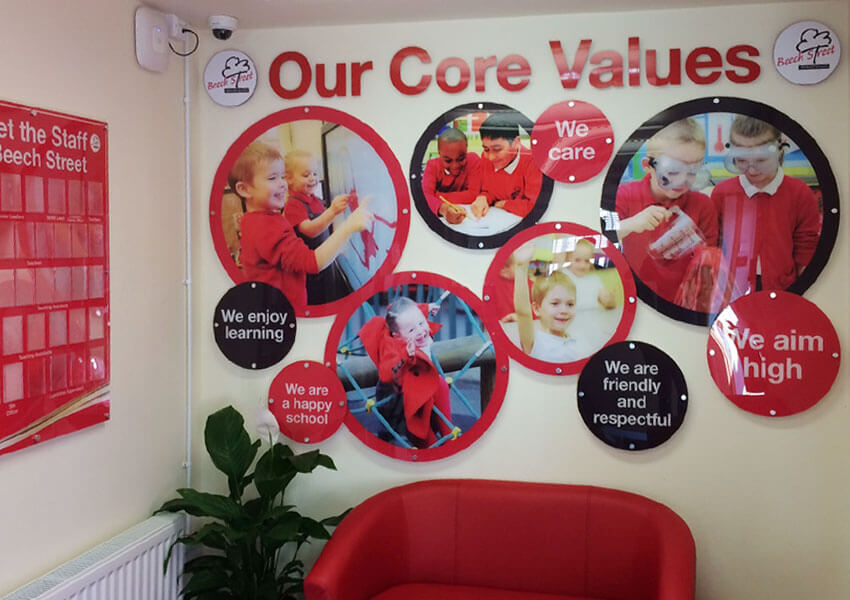 Multi element core values wall display
