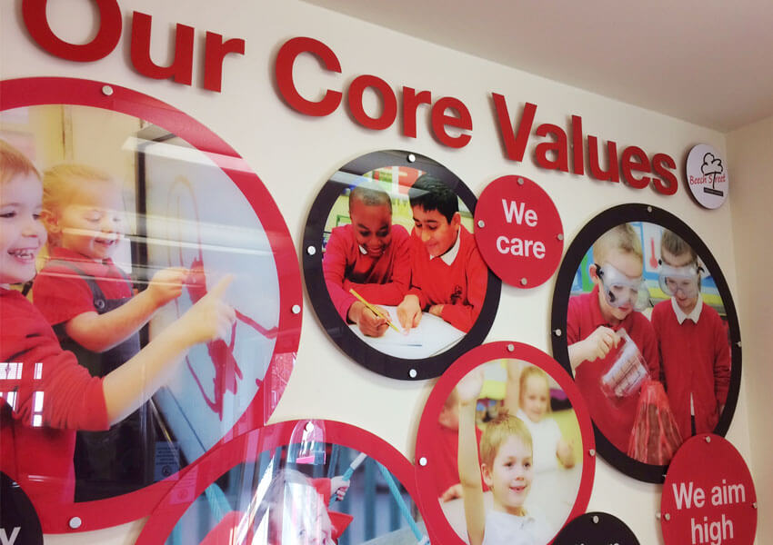 The core values display in close-up.