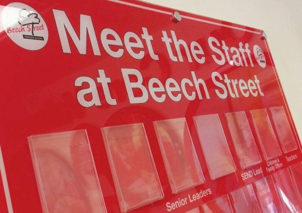 Stunning new wall displays and staff board at Beech Street Primary