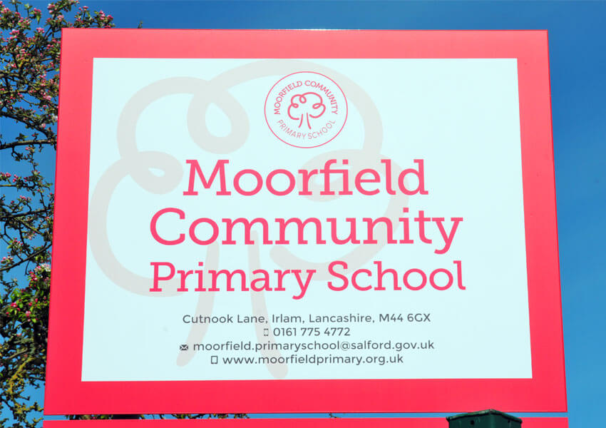 Main school sign.