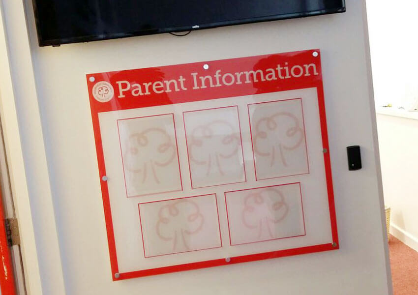 Information board for parental school news.