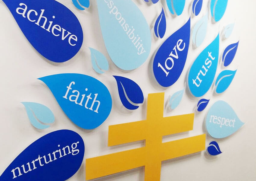 Symbols expressing faith in the school wall display
