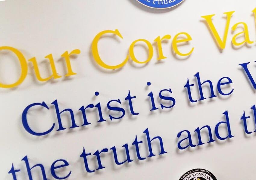 catholic school ethos expressed through wall displays