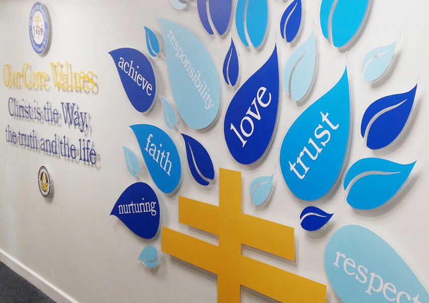 A wall display expressing the school's faith and ethos