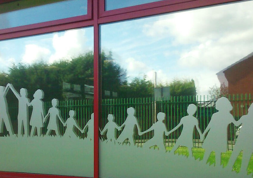 Window graphics featuring children