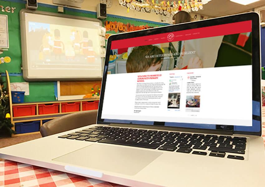 A school website featuring a school blog area.