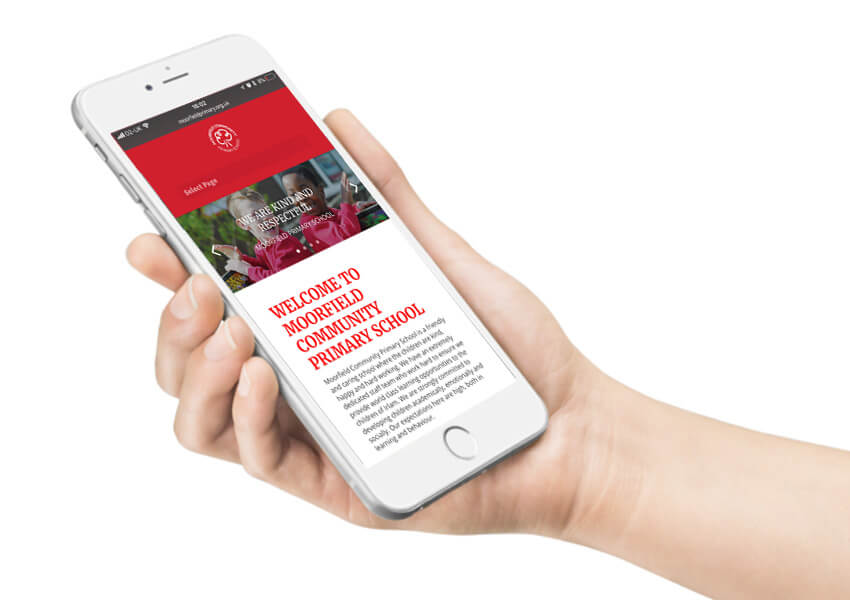A mobile device featuring the school website.