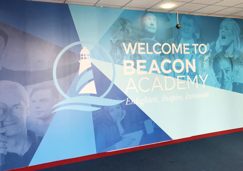Beacon Academy wall displays transformed several areas of the school.