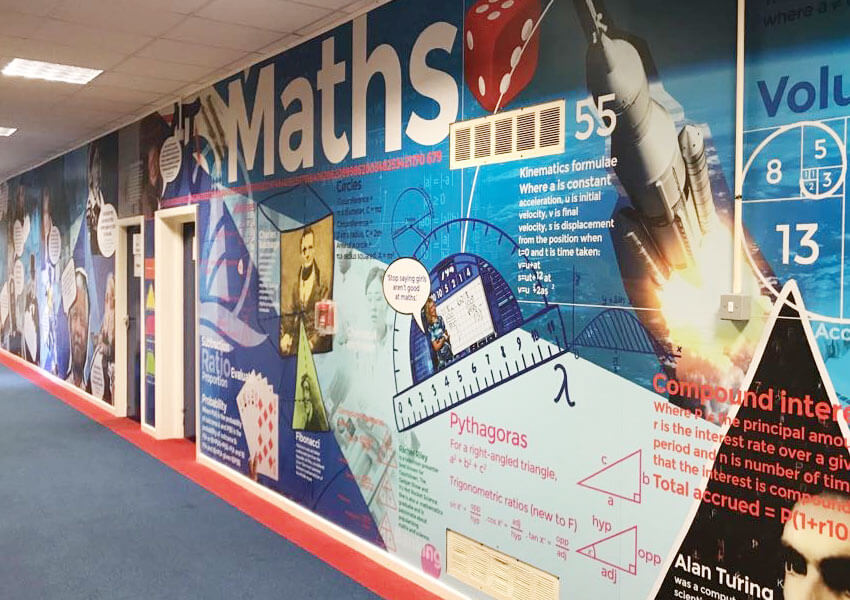 beacon academy wall displays creating exciting and dynamic spaces.