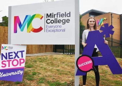 Results day is here with our sixth form branding at Mirfield College