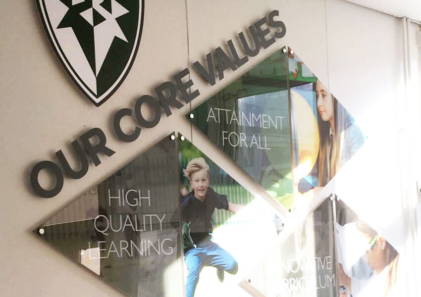 A core values wall display can be a great way of communicating your identity.